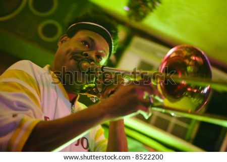 """New Orleans, LA December 28, 2006:  Blues band """"Corey Henry and the Young Fellas"""" - stock photo"""