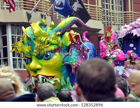 NEW ORLEANS, LA-FEBRUARY 12: Rex, the King Of Mardi Gras, parades through the streets of New Orleans, Louisiana, on February 12, 2013. - stock photo