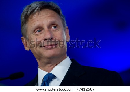 NEW ORLEANS, LA - JUNE 16: Presidential candidate Gary Johnson addresses the Republican Leadership Conference on June 16, 2011 at the Hilton Riverside New Orleans in New Orleans, LA. - stock photo