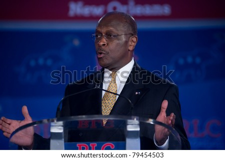 NEW ORLEANS, LA - JUNE 17: Presidential candidate Herman Cain addresses the Republican Leadership Conference on June 17, 2011 at the Hilton Riverside New Orleans in New Orleans, LA. - stock photo