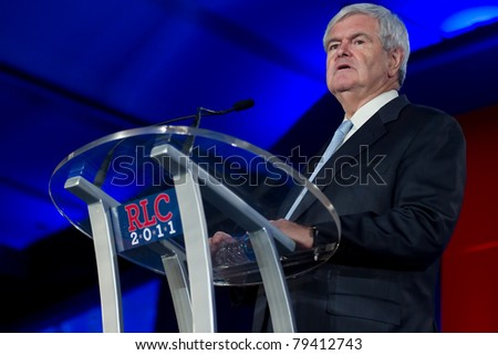 NEW ORLEANS, LA - JUNE 16: Presidential candidate Newt Gingrich addresses the Republican Leadership Conference on June 16, 2011 at the Hilton Riverside New Orleans in New Orleans, LA.