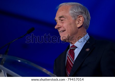 NEW ORLEANS, LA - JUNE 17: Presidential candidate Ron Paul addresses the Republican Leadership Conference on June 17, 2011 at the Hilton Riverside New Orleans in New Orleans, LA. - stock photo