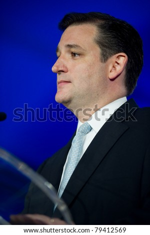 NEW ORLEANS, LA - JUNE 16: Texas Senatorial candidate Ted Cruz addresses the Republican Leadership Conference on June 16, 2011 at the Hilton Riverside New Orleans in New Orleans, LA. - stock photo