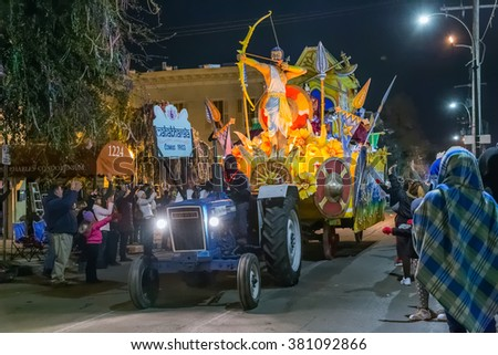New Orleans, LA/USA - circa February 2016: Krewe of Comus in parade during Mardi Gras in New Orleans, Louisiana - stock photo