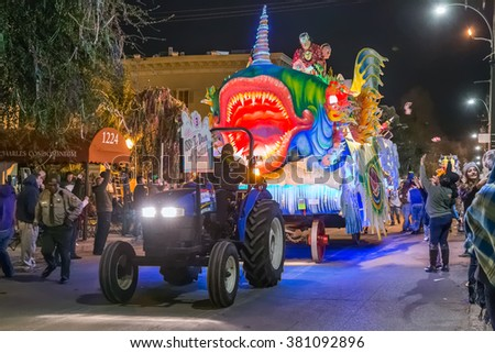 New Orleans, LA/USA - circa February 2016: Krewe of Proteus in parade during Mardi Gras in New Orleans, Louisiana - stock photo