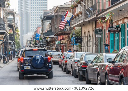 New Orleans, LA/USA - circa March 2009: Streets of French Quarter decorated for Mardi Gras in New Orleans, Louisiana - stock photo