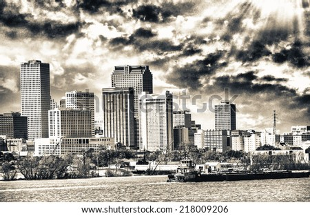 New Orleans, Louisiana. Mississippi river and city skyline. - stock photo
