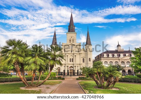 New Orleans, Louisiana, USA at Jackson Square and St. Louis Cathedral. - stock photo