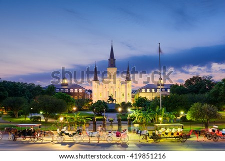 New Orleans, Louisiana, USA at St. Louis Cathedral and Jackson Square. - stock photo