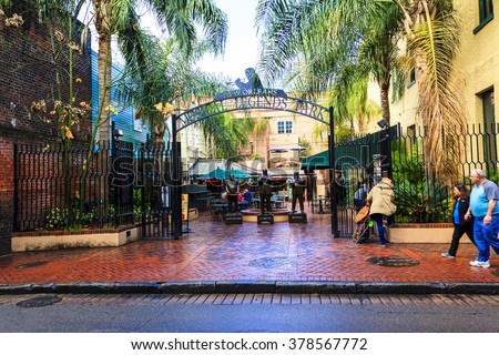 NEW ORLEANS, LOUISIANA USA - JAN 22 2016: Historic building in the French Quarter in New Orleans, USA. Many Pubs and bars in the French Quarter, New Orleans  - stock photo