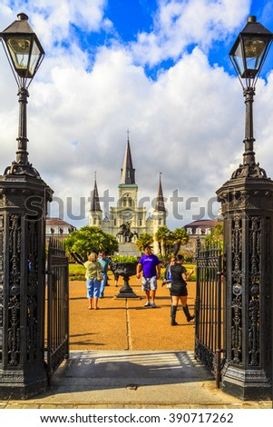 NEW ORLEANS, LOUISIANA USA - JAN 22 2016: Historic building in the French Quarter in New Orleans, USA. Tourism provides a large source of revenue after the 2005 devastation of Hurricane Katrina. - stock photo