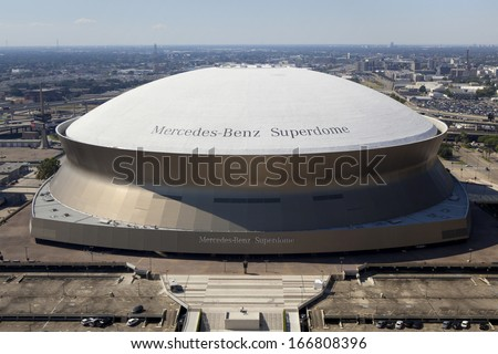 New Orleans, Louisiana, USA - October 9, 2013: Aerial view Superdome is home to NFL's New Orleans Saints American football on October 9, 2013 in New Orleans, Louisiana - stock photo