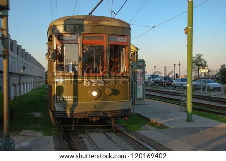 NEW ORLEANS, MAR 22: New Orleans Streetcar Line, March 22, 2009. Newly revamped after Hurricane Katrina in 2005, the New Orleans Streetcar line began electric operation in 1893