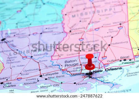 New Orleans pinned on a map of USA  - stock photo