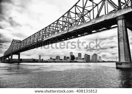 New Orleans skyline, black and white - stock photo
