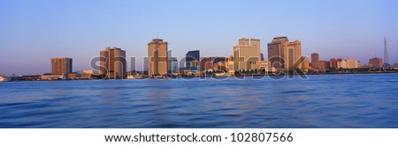 New Orleans Skyline From Algiers Point, Sunrise, Louisiana - stock photo
