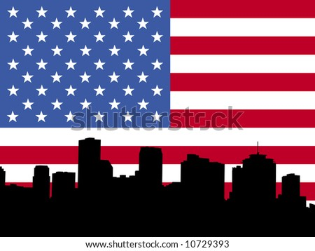 New Orleans skyline with American flag JPG - stock photo