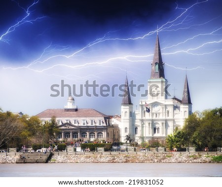 New Orleans. St Louis Cathedral with stormy weather. - stock photo