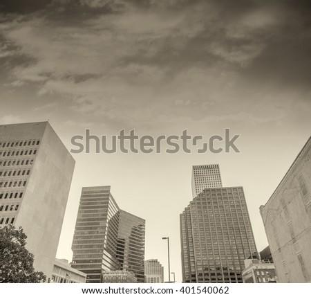 New Orleans sunset skyline. City buildings at dusk. - stock photo