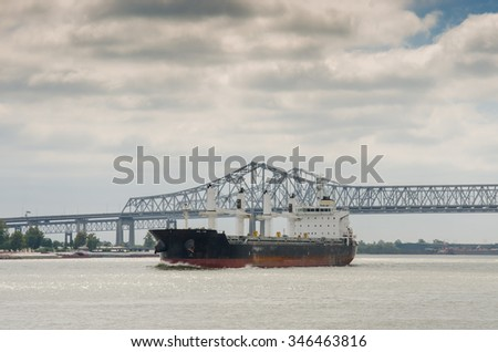 New Orleans, United States: October 2nd, 2015. An ocean liner heads down the Mississippi River toward the Gulf of Mexico