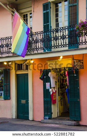 New Orleans, USA - July 8, 2015: Bourbon Pride shop in the French Quarter on Bourbon Street that sells products for the LGBT community.