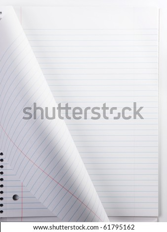 New page. Note book with page being turned. - stock photo