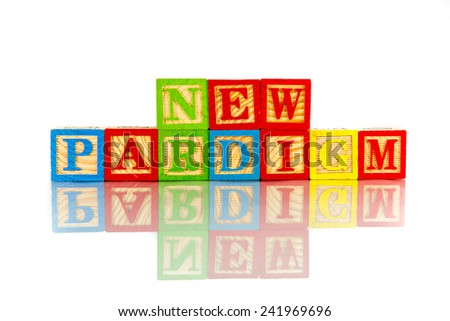 new paradigm word reflection in white background