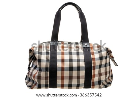 New patterned womens bag isolated on white background. - stock photo