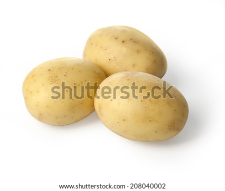 New potato isolated on white background close up, with clipping path