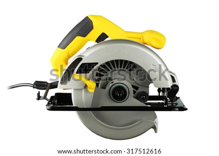 new, powerful circular saw on white background - stock photo