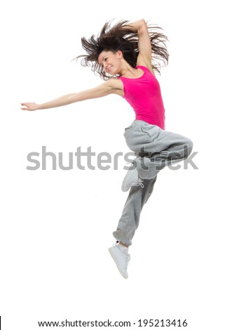 New pretty modern slim hip-hop style dancer teenage girl jumping dancing isolated on a white studio background