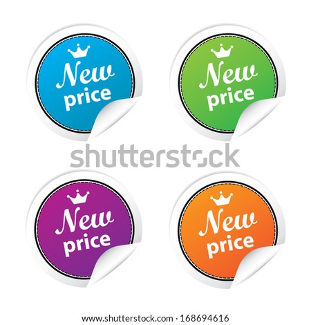 New price labels and sticker set. jpg. - stock photo