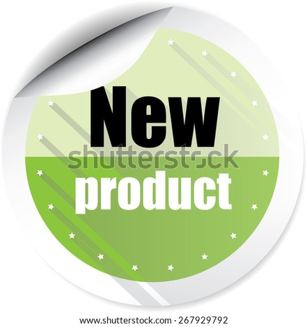 New Product Green Stickers And Labels. - stock photo