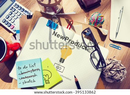 New Product Launch Marketing Commercial Innovation Concept - stock photo