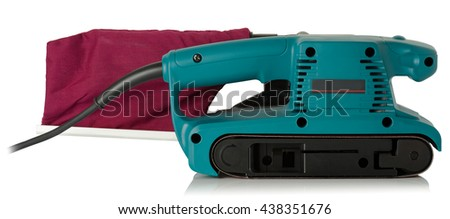 new professional belt sander on white background - stock photo