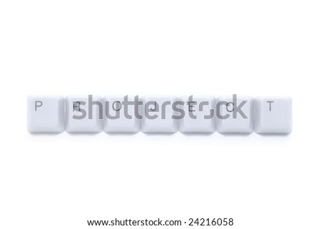 New PROJECT on Internet - caption by keyboard keys isolated on white background