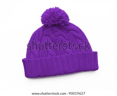 New Purple Knit Wool Hat with Pom Pom isolated on white background - stock photo