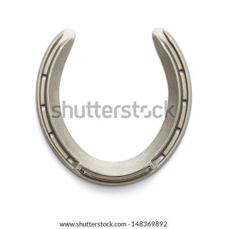 New Racing Horseshoe Isolated on White Background. - stock photo