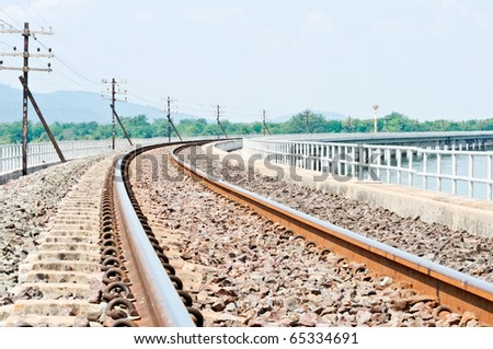 New railway along to the new reservoir - stock photo