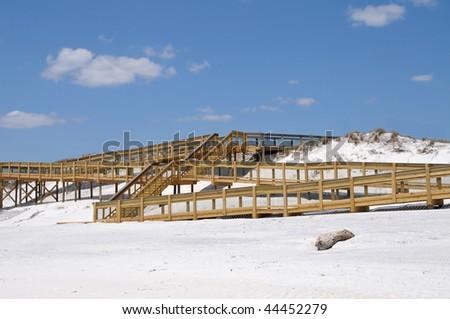 New Ramp Providing Handicap Access to Beach - stock photo