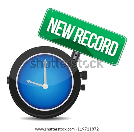 new record watch illustration design over white - stock photo