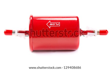 New red car fuel filter. Isolate on white. - stock photo