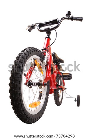 New red children's bike isolated on white - stock photo