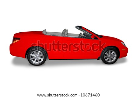 New red convertible car isolated on a white background. A shadow is drawn in under the car. Two clipping paths included. One for the entire car and another for the  body paint only is included. - stock photo