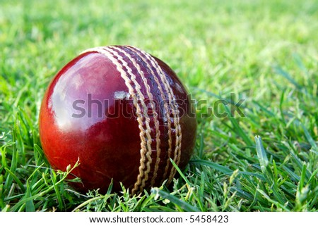 New red cricket ball on grass sporting field before play. - stock photo