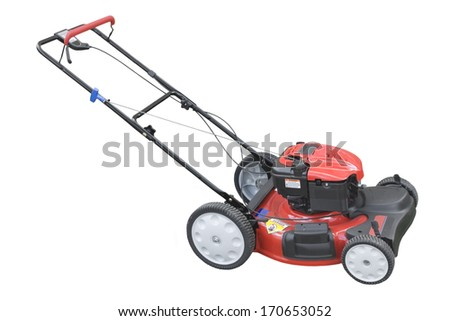 New red lawn mower on white background. - stock photo