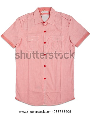 New red mens shirt. T-shirt Isolated on white - stock photo