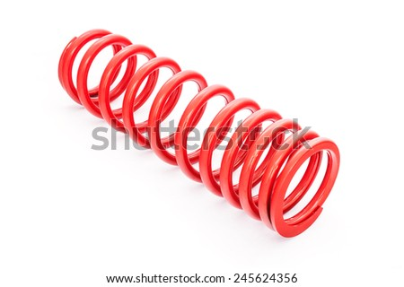 New red motorcycle suspension on white background - stock photo
