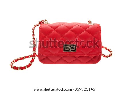 New red womens bag isolated on white background.