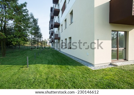 New residential block situated in the suburbs - stock photo